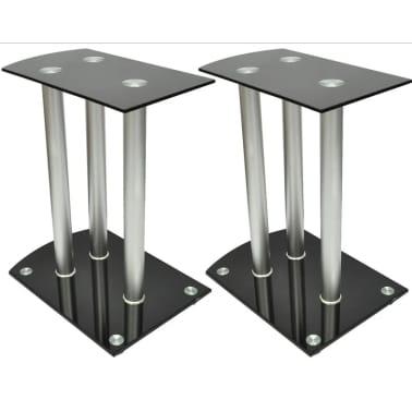 Aluminum Speaker Stands 2 pcs Black Glass[5/6]