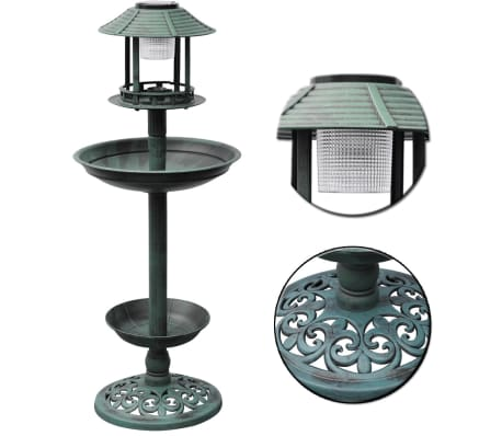 vidaXL Bird Bath/ Feeder with Solar Light[6/6]
