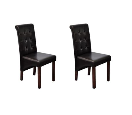 vidaXL Valgomojo kėdės, 2vnt., rudos, dirbtinė oda