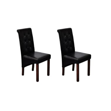 vidaXL Jedálenské stoličky 2 ks, čierne, umelá koža[1/10]