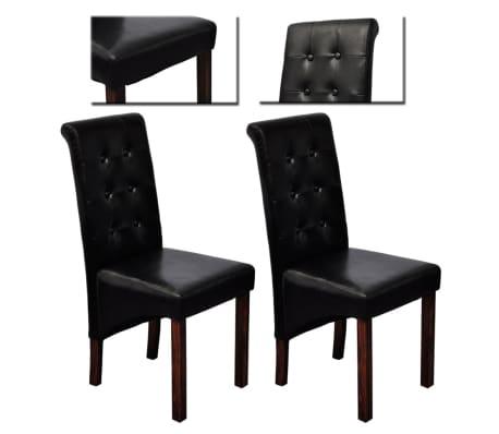 vidaXL Jedálenské stoličky 2 ks, čierne, umelá koža[8/10]