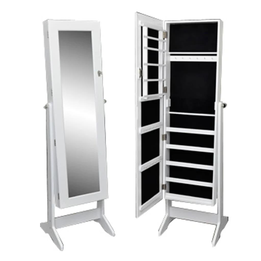 armoire bijoux blanche sur pied avec miroir r glable. Black Bedroom Furniture Sets. Home Design Ideas