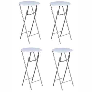 vidaXL Table de bar 4 pcs avec dessus de table en MDF Blanc[1/5]