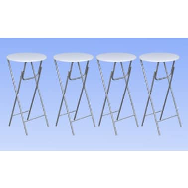 vidaXL Table de bar 4 pcs avec dessus de table en MDF Blanc[2/5]