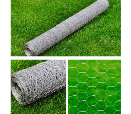 vidaXL Wired Mesh Fence Hexagon 1 x 25 m Silver[5/5]