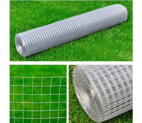 vidaXL Wired Mesh Fence Square 1 x 25 m Silver[5/5]