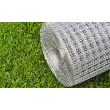 vidaXL Wired Mesh Fence Square 1 x 25 m Silver[3/5]