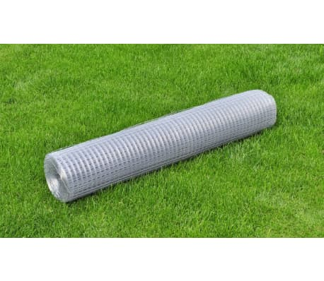 vidaXL Wired Mesh Fence Square 1 x 25 m Silver[1/5]