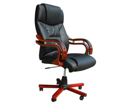 Καρέκλα Γραφείου Πολυτελείας Executive Δερματίνη Μαύρη[1/6]