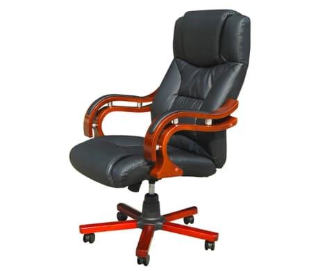 Καρέκλα Γραφείου Πολυτελείας Executive Δερματίνη Μαύρη[3/6]