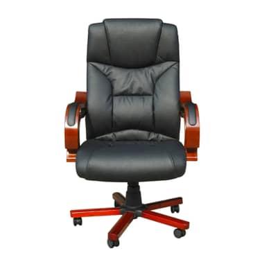 Καρέκλα Γραφείου Πολυτελείας Executive Δερματίνη Μαύρη[2/6]