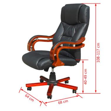 acheter fauteuil cuir m lang noir et l ments bois pas. Black Bedroom Furniture Sets. Home Design Ideas