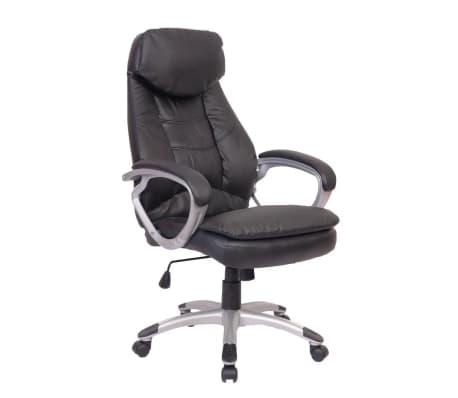 Sedia poltrona ufficio girevole in pelle, nera | vidaXL.it