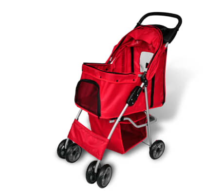 vidaXL Folding Pet Stroller Dog/Cat Travel Carrier Red