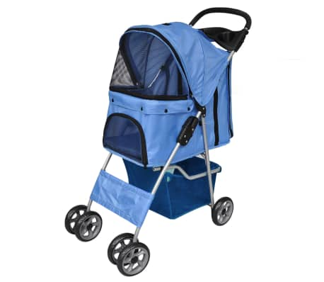 vidaXL Pet Stroller Travel Carrier Blue Folding[1/4]