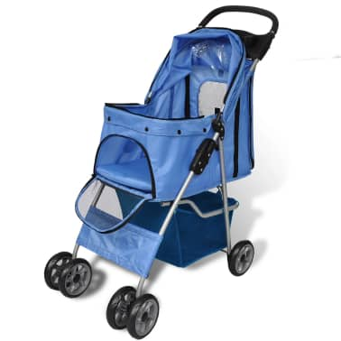 vidaXL Pet Stroller Travel Carrier Blue Folding[2/4]