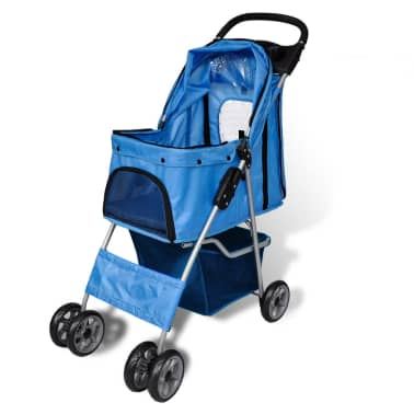 vidaXL Pet Stroller Travel Carrier Blue Folding[3/4]