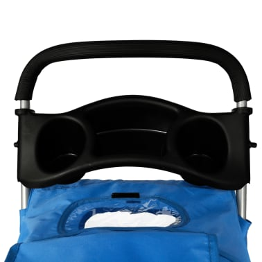vidaXL Pet Stroller Travel Carrier Blue Folding[4/4]