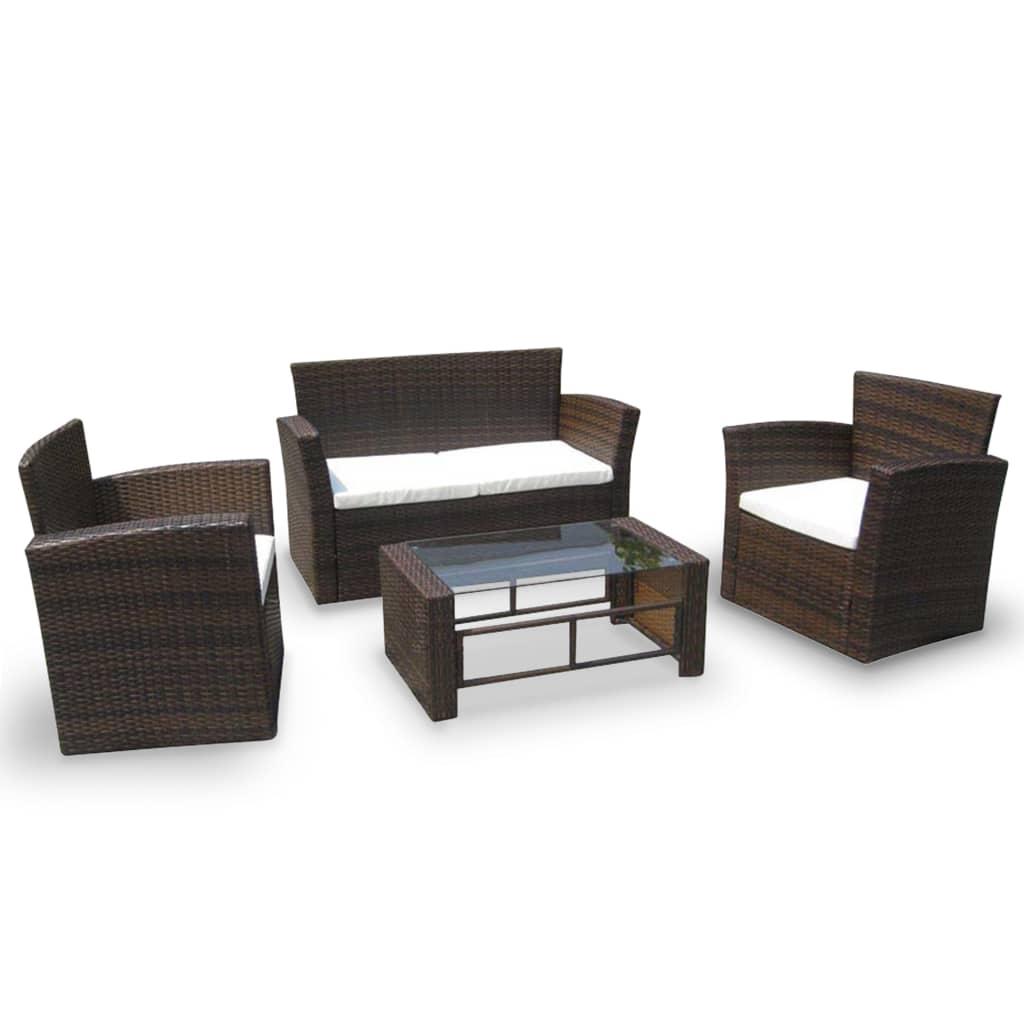 vidaXL 4-cz. zestaw wypoczynkowy do ogrodu, poduszki, rattan PE, brąz