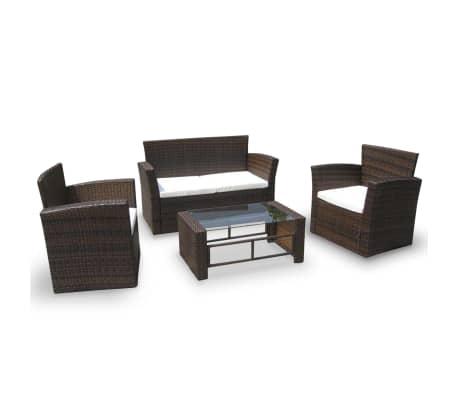 vidaXL 4 pcs conjunto lounge jardim c/ almofadões vime PE castanho
