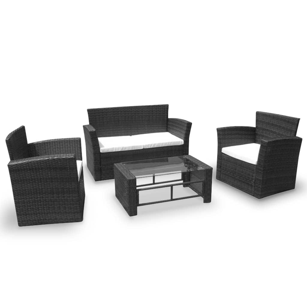 vidaXL 4-cz. zestaw wypoczynkowy do ogrodu, poduszki, rattan PE czarny