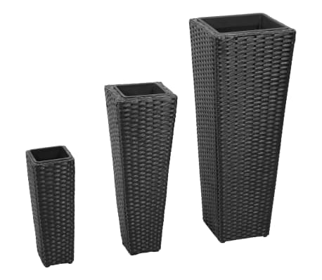 3 Rattan Flower Pots Black[1/8]