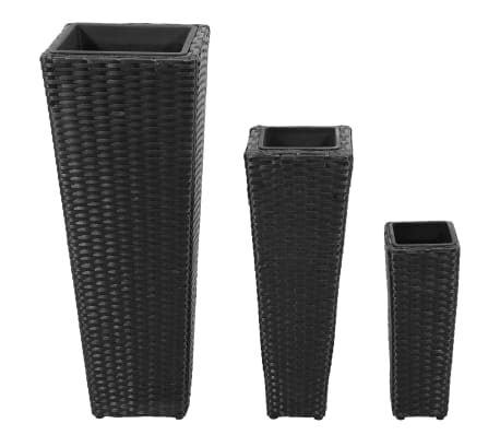 3 Rattan Flower Pots Black[2/8]