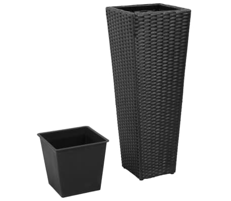 3 Rattan Flower Pots Black[3/8]