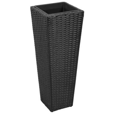 3 Rattan Flower Pots Black[4/8]