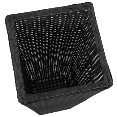 3 Rattan Flower Pots Black[5/8]