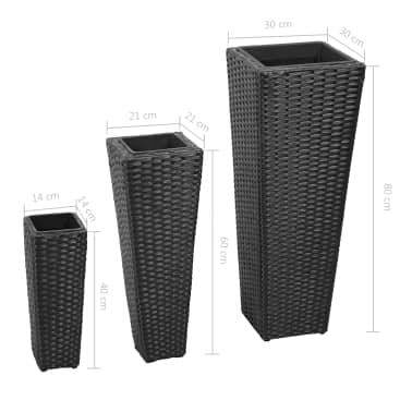3 Rattan Flower Pots Black[8/8]