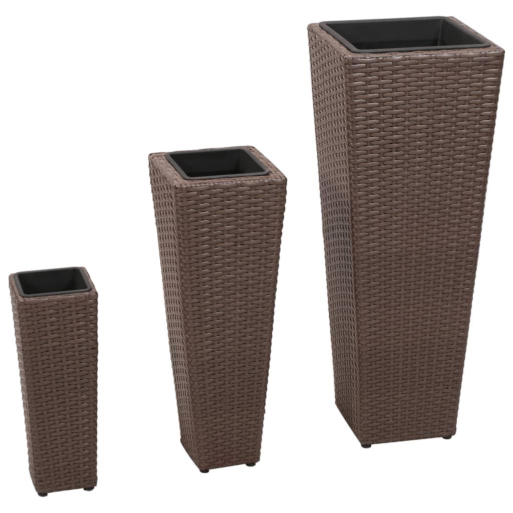 Σετ 3 τμχ Γλάστρες Τετράγωνες Κωνικές Rattan Καφέ