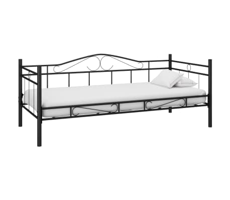 vidaXL Vienvietė lova, juodos sp., metalas, 90x200cm
