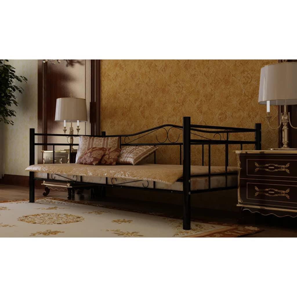 vidaXL Metallbett Einzelbett 90 x 200 cm schwarz