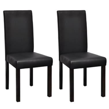 Vidaxl 2 pz sedie sala da pranzo in pelle artificiale nere for Poltroncine sala da pranzo