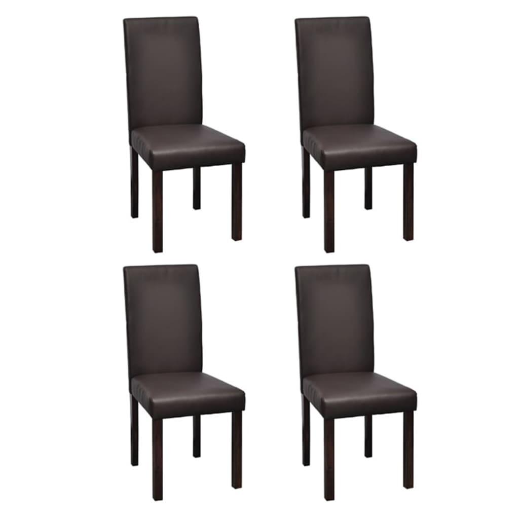 vidaXL Jídelní židle 4 ks hnědé z umělé kůže