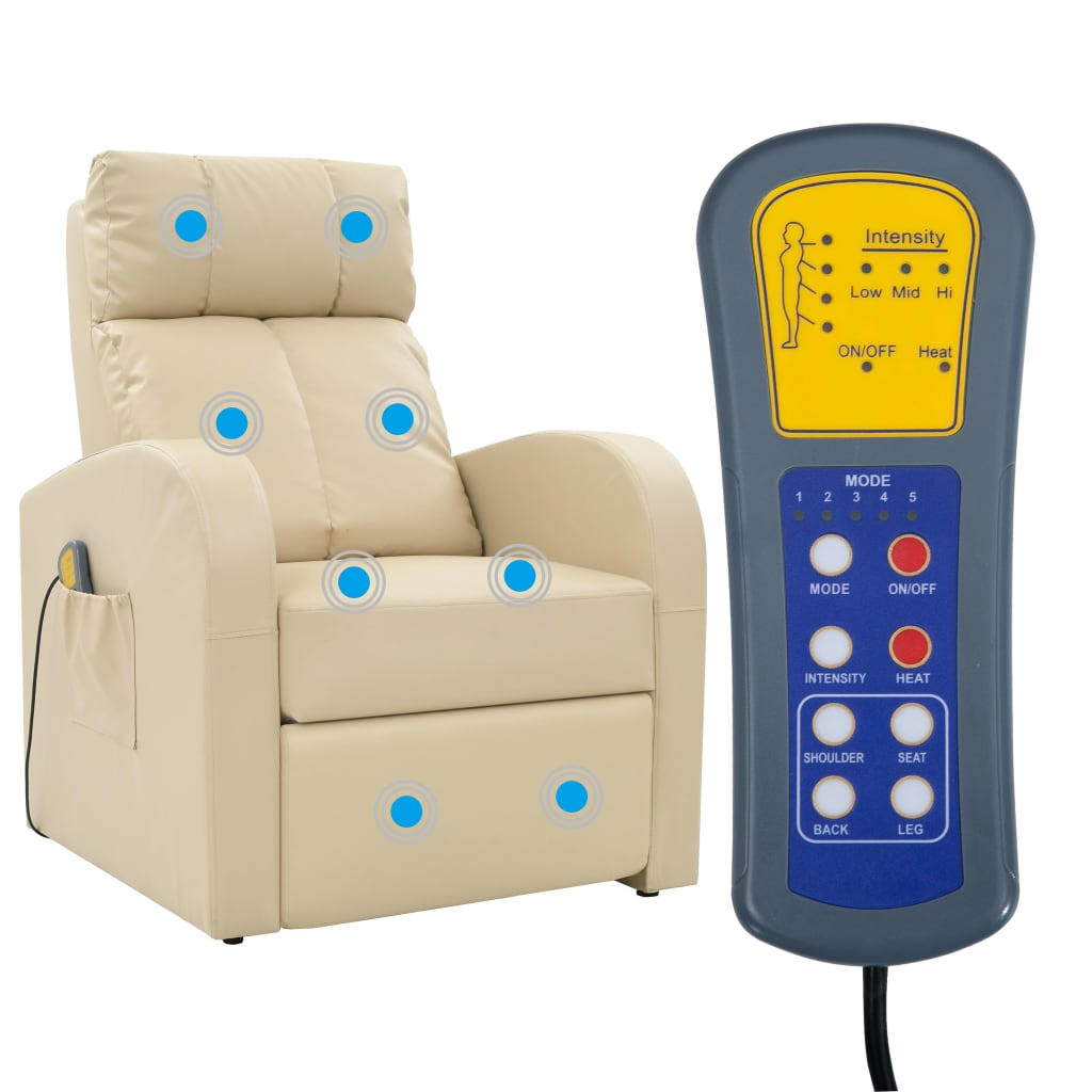 vidaXL Elektrické masážne kreslo s diaľkovým ovládaním, krémové