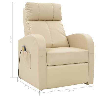 vidaXL Fotoliu de masaj electric cu telecomandă, crem[10/10]