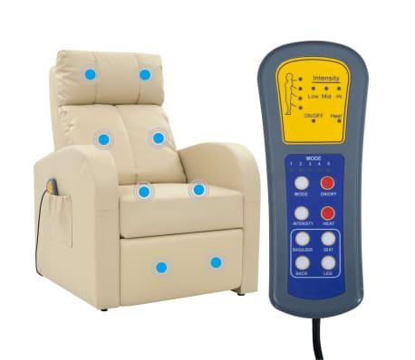 vidaXL Fotoliu de masaj electric cu telecomandă, crem[1/10]