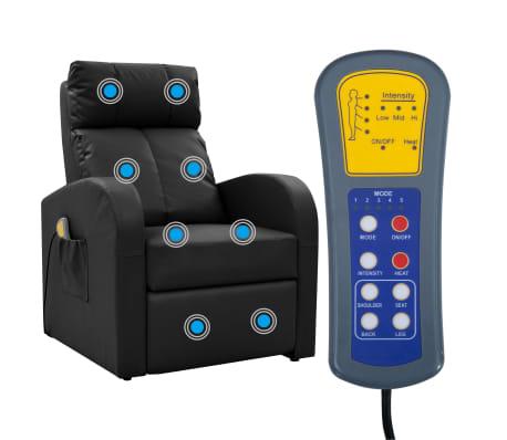 vidaXL Fotoliu de masaj electric cu telecomandă, negru[2/10]