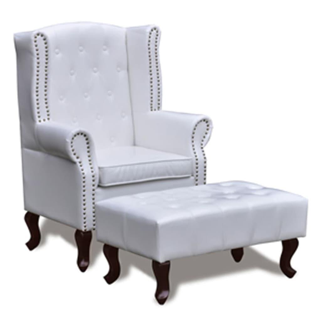 Afbeelding van vidaXL Chesterfield fauteuil met hocker (wit)