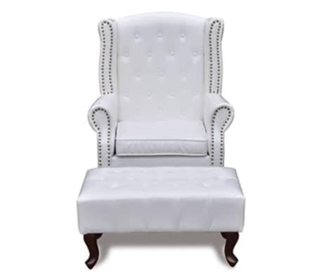 Acheter fauteuil chesterfield avec ottoman assorti blanc pas cher - Fauteuil chesterfield blanc ...