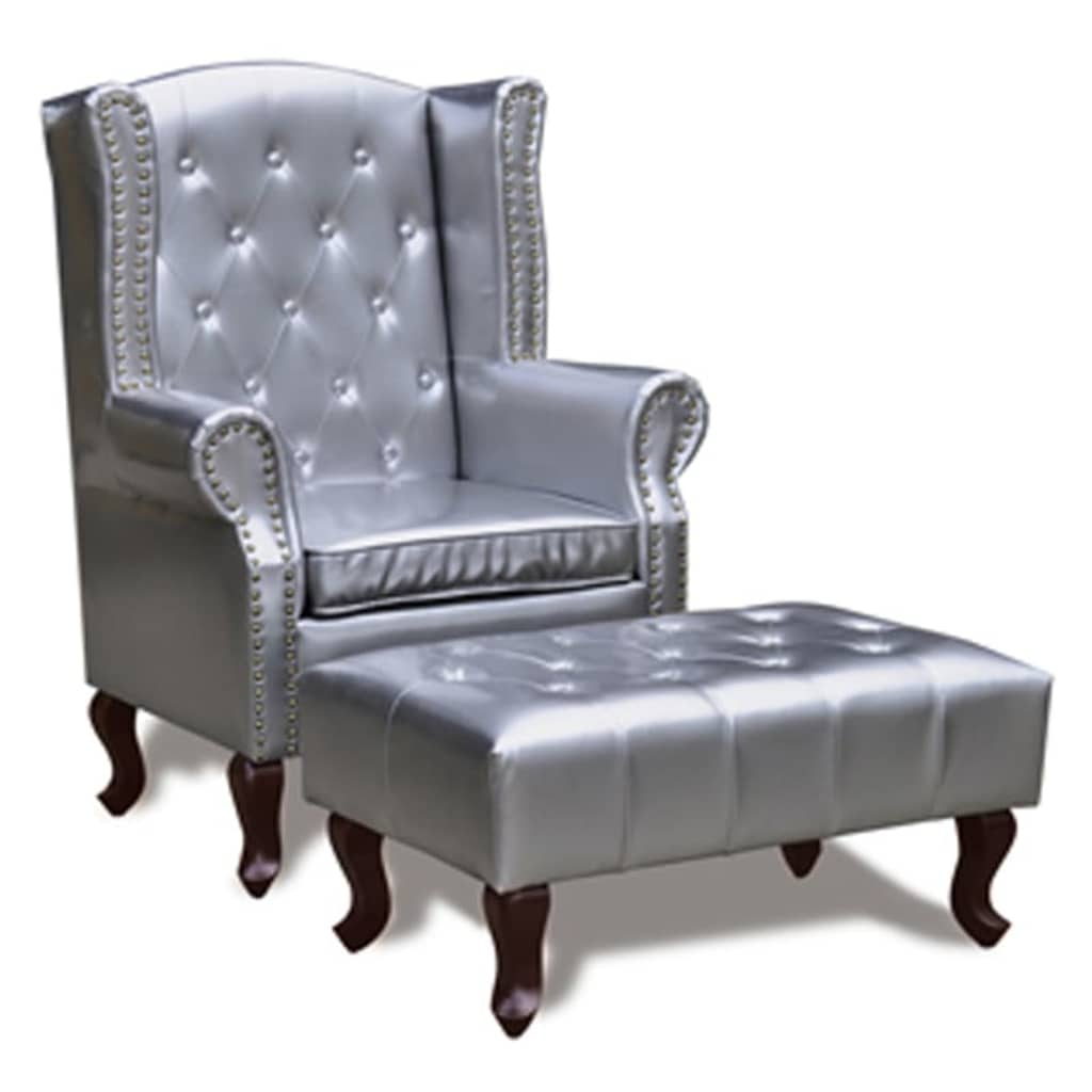 Afbeelding van vidaXL Chesterfield fauteuil met hocker (zilver)
