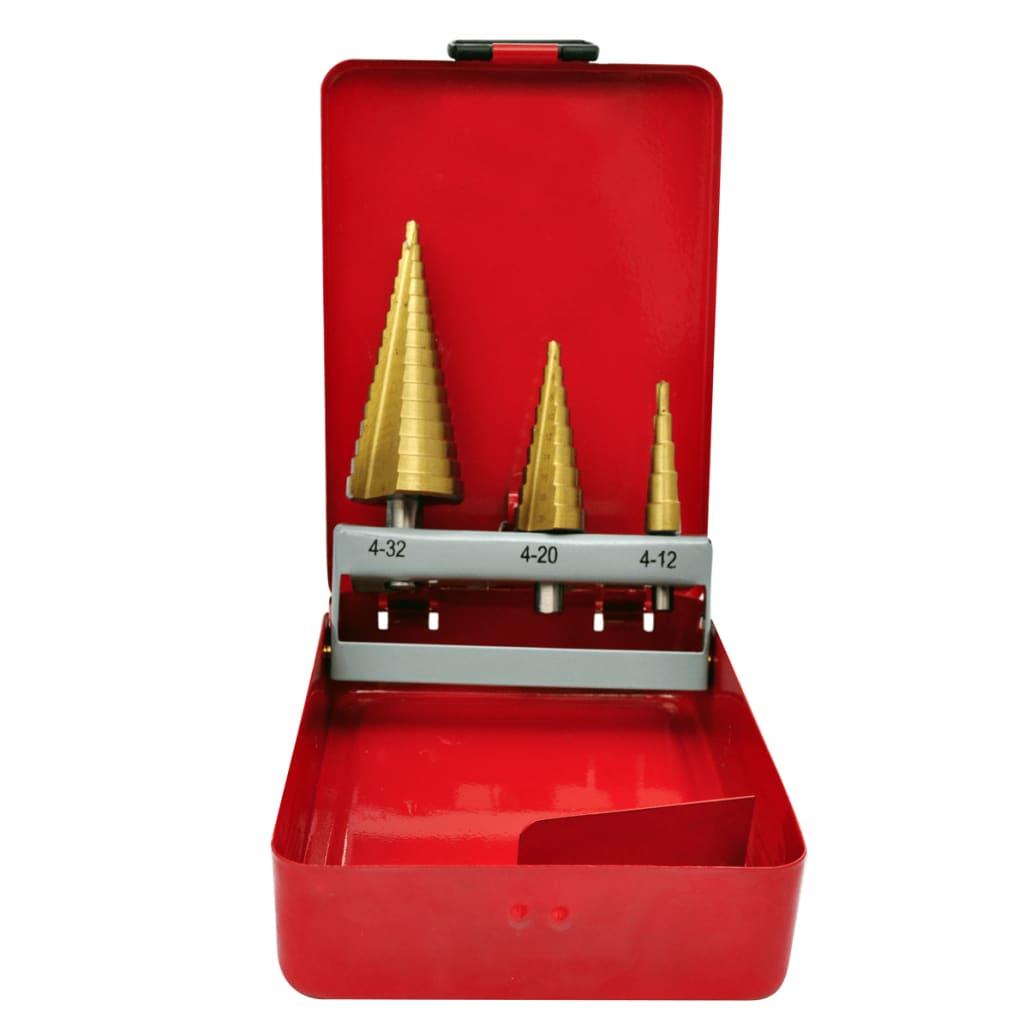 Set 3 ks stupňovitých vrtáků HSS na kov s kufříkem