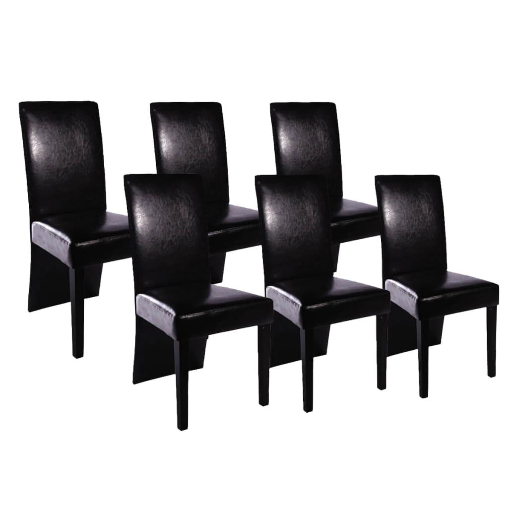 Jídelní židle 6 ks z umělé kůže, černé