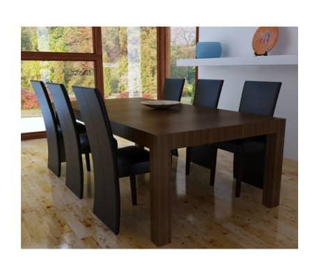 Vidaxl set 6 sedie sala da pranzo in pelle artificiale for Sedie per sala da pranzo in pelle