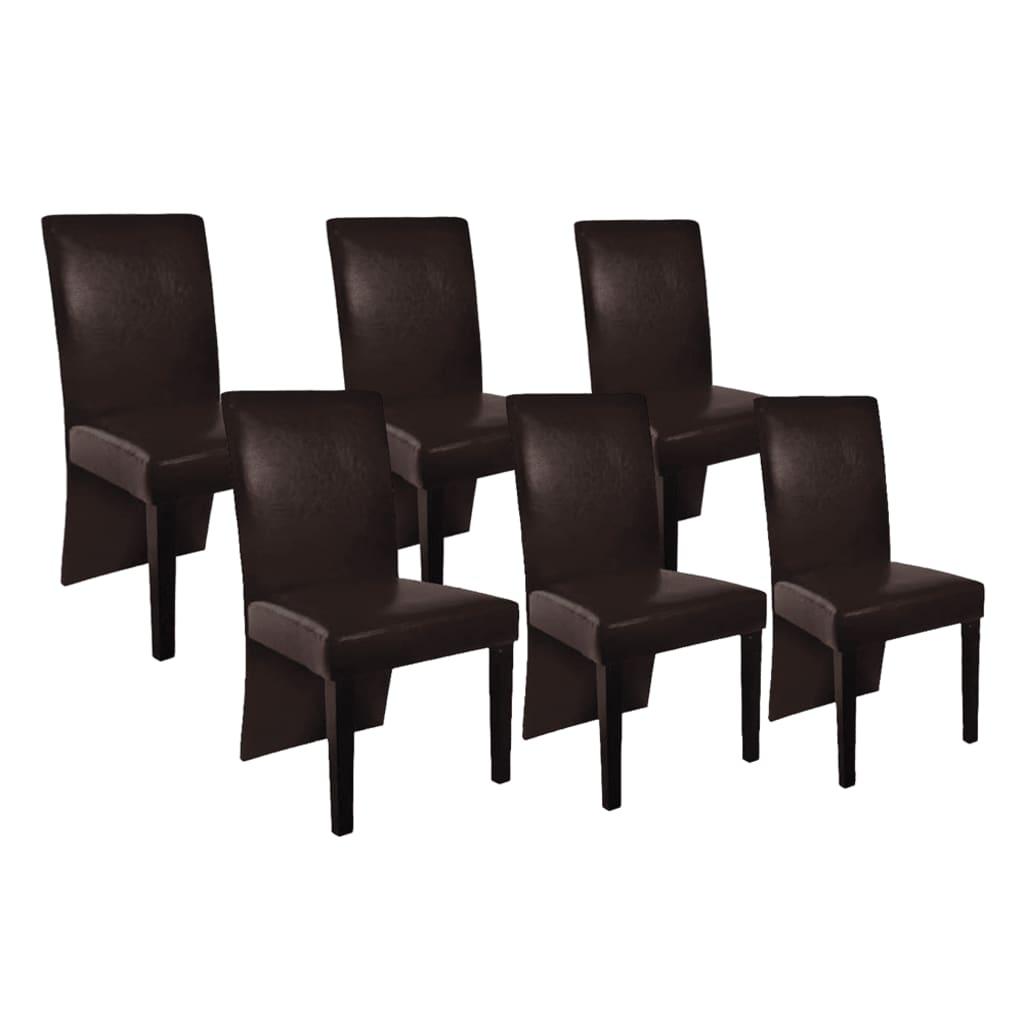 vidaXL Καρέκλες Τραπεζαρίας 6 τεμ. Καφέ Δερματίνη