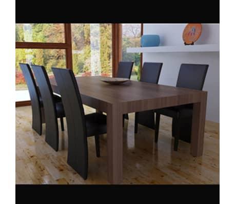 vidaXL Chaise de salle à manger 6 pcs Cuir artificiel Marron foncé[2/3]