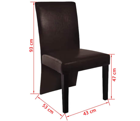 vidaXL Chaise de salle à manger 6 pcs Cuir artificiel Marron foncé[3/3]