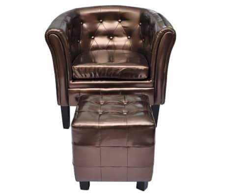 acheter vidaxl fauteuil cabriolet avec repose pied cuir synth tique marron pas cher. Black Bedroom Furniture Sets. Home Design Ideas